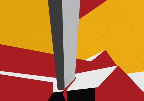 A cubism style image with a yellow and red background with a grey block hitting through