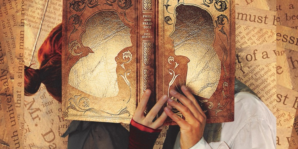 A brown book of Pride and Prejudice held open by two people whose faces are behind the book