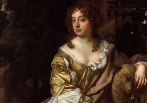 A painting of Nell Gwynn sitting on a chair wearing a golden dress